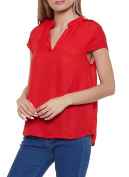 Button Cap Sleeve Top - 1001074292407