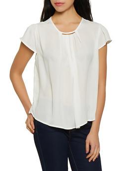 Metallic Neck Cap Sleeve Blouse - 1001074292412