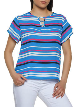 Caged Detail Striped Top - 1001074292414