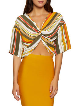 Striped Twist Front Top | 1001074292421 - 1001074292421