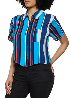 Multi Striped Button Front Shirt - 1001074292422