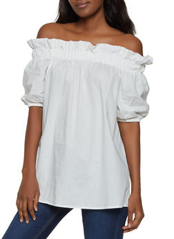 7053bd10efbf07 Ruffled Short Sleeve Off the Shoulder Top - 1001074292435