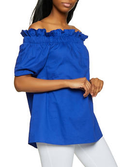 Ruffled Short Sleeve Off the Shoulder Top - 1001074292435