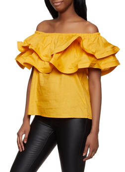 Off the Shoulder Tiered Ruffle Top - 1001074292436