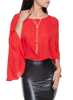 Flutter Sleeve Blouse with Necklace - 1001074292868