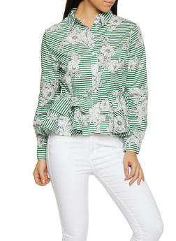 Floral Striped Peplum Shirt - 1001074292871