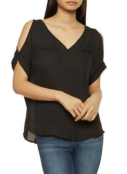 Cold Shoulder Blouse - 1001074292874