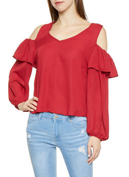 Ruffled Cold Shoulder Blouse - 1001074292875