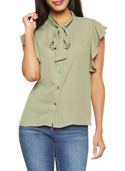 Flutter Cap Sleeve Blouse - 1001074292877