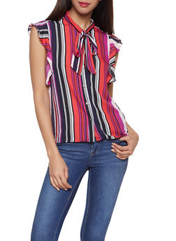 Striped Tie Neck Blouse - 1001074292879