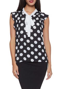 Polka Dot Tie Neck Blouse - 1001074292880