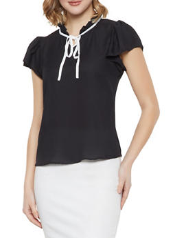 Ruffled Tie Neck Blouse - BLACK - 1001074292881