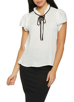 Ruffled Tie Neck Blouse - WHITE - 1001074292881