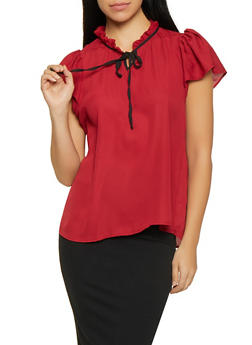Ruffled Contrast Tie Neck Blouse - 1001074292881