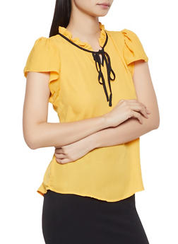 Ruffled Tie Neck Blouse - 1001074292881