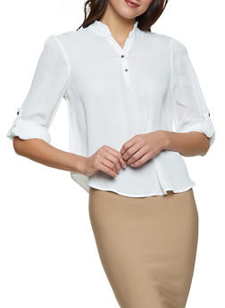 Long Sleeve White Ruffle Blouse