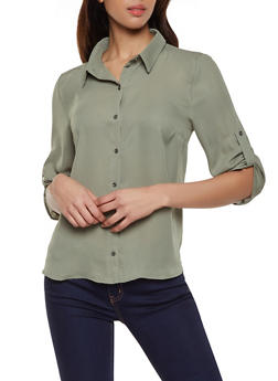 Tabbed Sleeve Button Front Blouse - 1001074292885