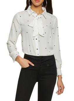 Dot Print Tie Neck Shirt - 1001074292887