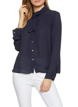 Tie Neck Button Front Blouse - 1001074292888
