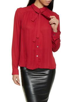 Tie Neck Button Front Blouse - 1001074292888