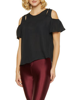 Cold Shoulder Cut Out Blouse - 1001074292900