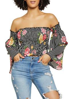 Smocked Floral Striped Off the Shoulder Crop Top - 1001074293141