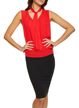 Tie Neck Overlay Blouse - Red - Size S - 1001074294170