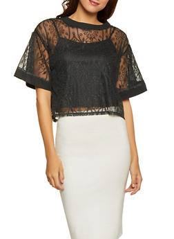 Embroidered Mesh Top with Cami - 1001074295023