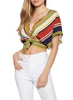 Striped Faux Wrap Crop Top | 1001074297103 - 1001074297103