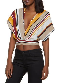 0bf5997b Striped Faux Wrap Crop Top | 1001074297103 - 1001074297103