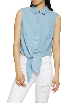 Sleeveless Button Front Denim Top - 1002038340656