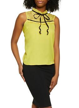 Lace Yoke Sleeveless Blouse - 1002038340666
