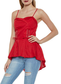 Fold Over High Low Poplin Top - 1002038340680