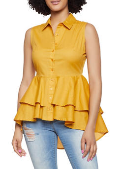 ef9ce301d1ce0 Tiered Button Front Peplum Top - 1002038340682