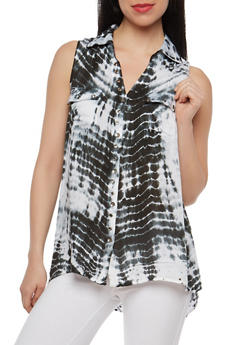 Tie Dye Sleeveless Button Front Top - 1002038349604