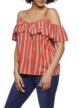 59b20239100711 Striped Lace Up Off the Shoulder Top - 1002051060669