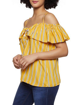 Striped Off the Shoulder Tops