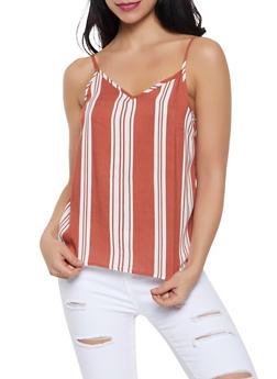 Striped V Neck Cami - 1002051067679