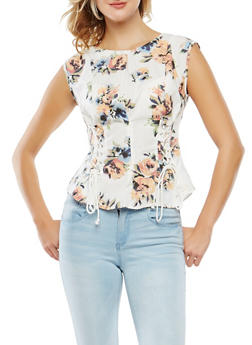 Lace Up Detail Floral Top - 1002051069770