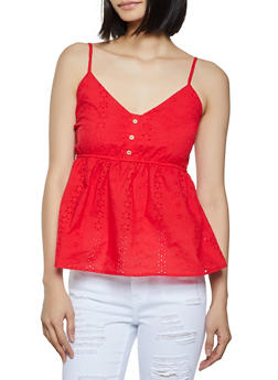 Button Detail Eyelet Cami - 1002054262322
