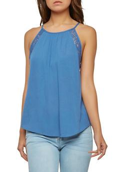 Gauze Knit Lace Trim Sleeveless Top - 1002054269329