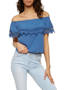 Crochet Trim Off the Shoulder Top - 1002054269445
