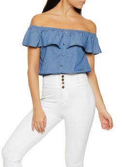 Off the Shoulder Chambray Top - 1002058750162