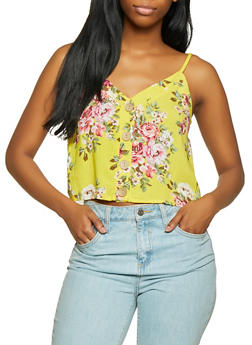 Floral Button Cropped Cami - 1002058750834