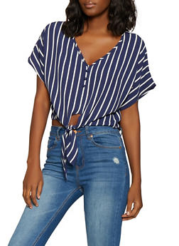 Striped Tie Front Crepe Knit Top - 1002058751295