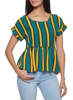 Striped Ruffle Hem Top - 1002058751896