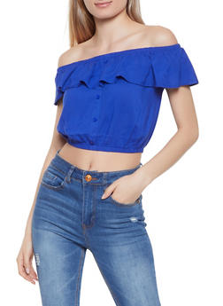 Cropped Off the Shoulder Top - Blue - Size S - 1002058752081