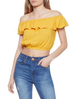 Cropped Off the Shoulder Top - 1002058752081