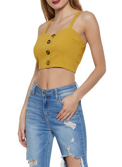 Faux Button Crop Top - 1002058752235