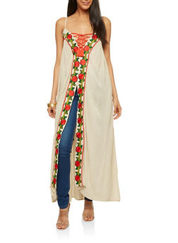 Embroidered Gauze Knit Sleeveless Maxi Top - 1002058757234